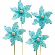 Väderkvarn pinwheel bin turkos Ø8,5cm sommardekoration trädgård 12st