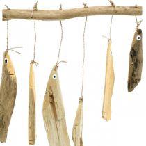 Maritim fiskdekoration, drivved vindklockor, trädekoration L50cm W30cm