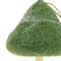 Decohängare svamp trä / filtgrön Ø5cm-Ø10cm H9cm 8st