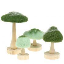 Dekorativ svamp trä / filtgrön 8cm - 15cm 4st