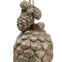 Kottar med glitter ljusguld 14cm 3st