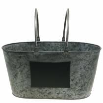 Plantera zinkbadkar med handtag ovala grå H20cm
