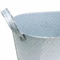Zinkskål oval ljusgrå tvättad 27x18cm H12cm