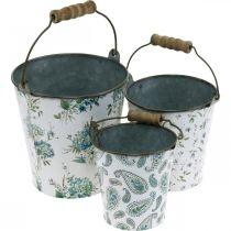 Vårdekoration, metallhink, växtskopa blommönster, metalldekoration H15 / 11 / 9,5 cm uppsättning 3