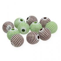 Dekorativa pärlor gröna, bruna Ø2cm 53st