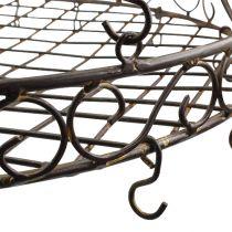 Bricka med krokar för hängande brun, rost Ø45cm