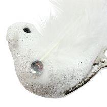 Dekorativ fågel på klämman med glittervit 14 cm 2st