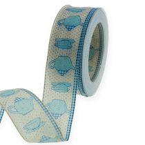 Dekorativt band med trådblått 40mm 20m