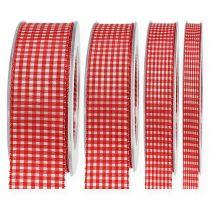 Presentband med selvedge 20 m röd rutig