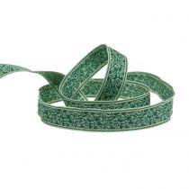 Presentbandsbärbusk Jacquard med trådkanten mörkgrön, mint 25mm L15m
