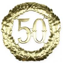 Jubileum nummer 50 i guld Ø40cm