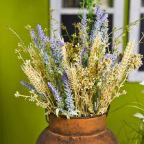 Konstgjord lavendelbunt, sidenblommor, fältbukett lavendel med veteöron och ängsöt