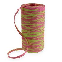 Raffia band bicolor äpple grön-rosa 200m
