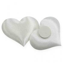 Scatter dekoration tyg hjärtan vit 28x32mm 100p