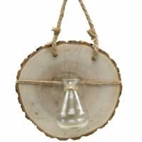 Träskiva med glasvas för att hänga Ø22cm