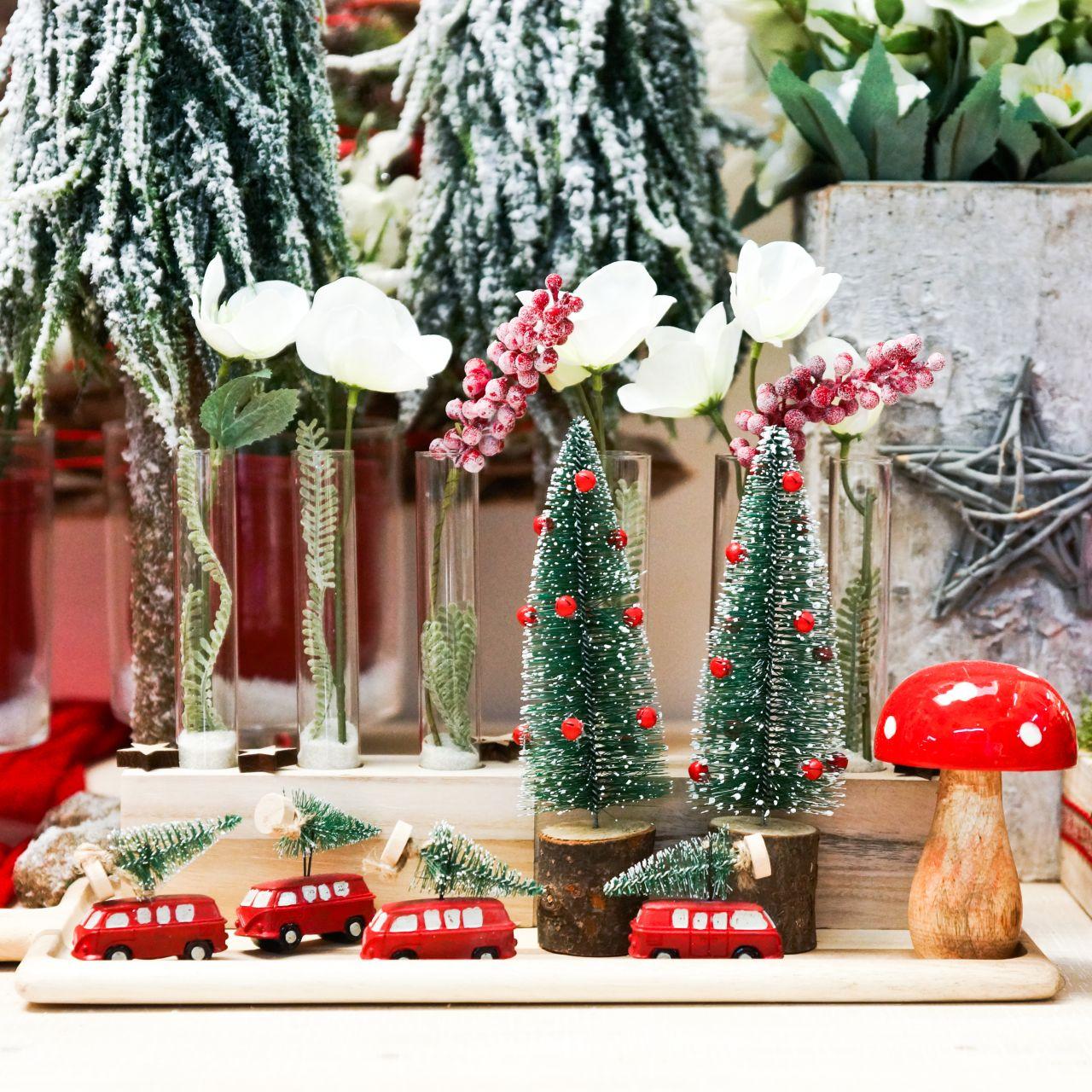 Julgransdekorationsbil med granröd / grön 2st
