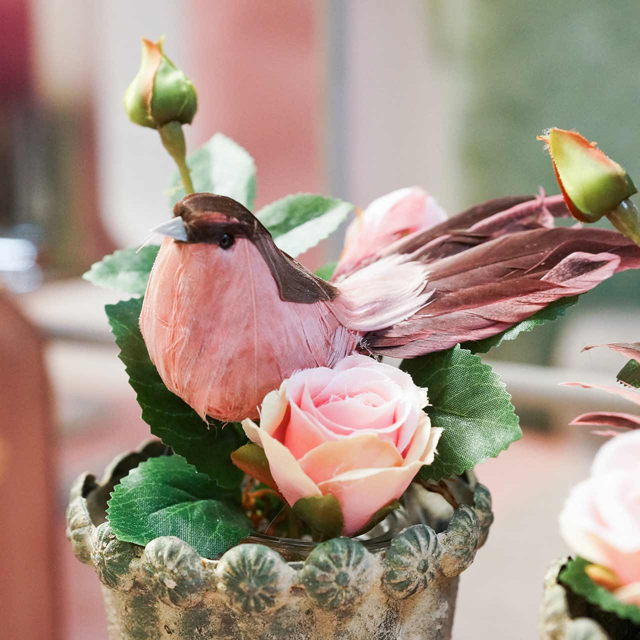 Fjäderfågel på tråd rosa 12cm 4st