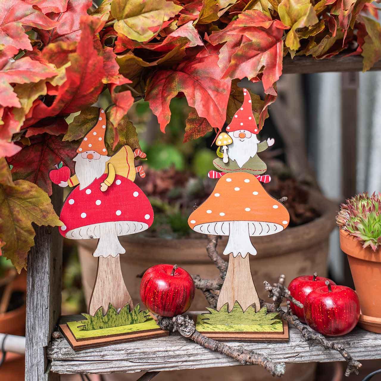 Flugsvamp för höst, trädekoration, gnome på svamp orange / röd H21 / 19,5cm 4st