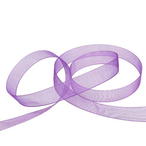 Organza band med selvedge 1,5 cm 50 m medium lila