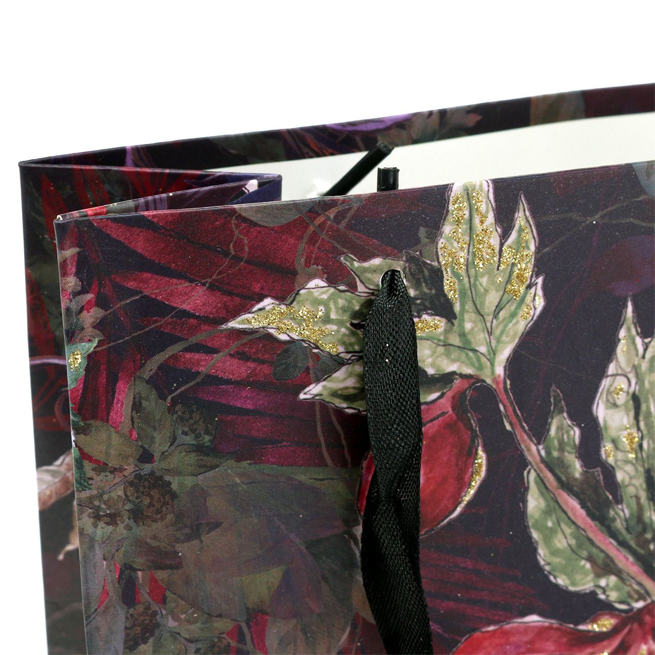 Presentpåse blommor guld 18cm x 8cm H24cm