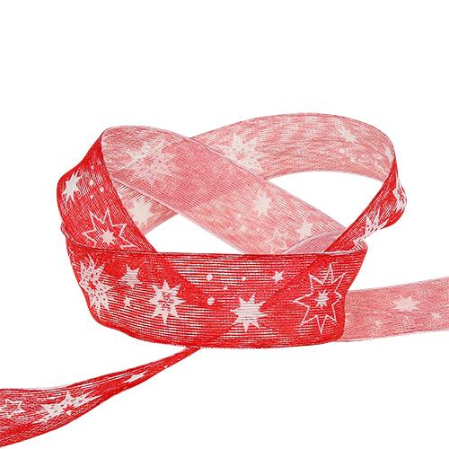 Julband rött med stjärnmönster 25mm 20m