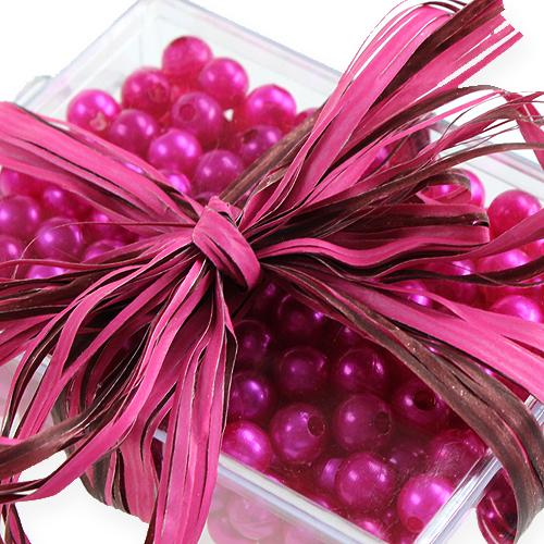 Raffia band bicolor rosa-brun 200m