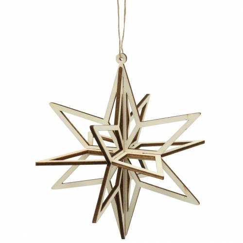 3D stjärna trä att hänga 13,5 cm 6st