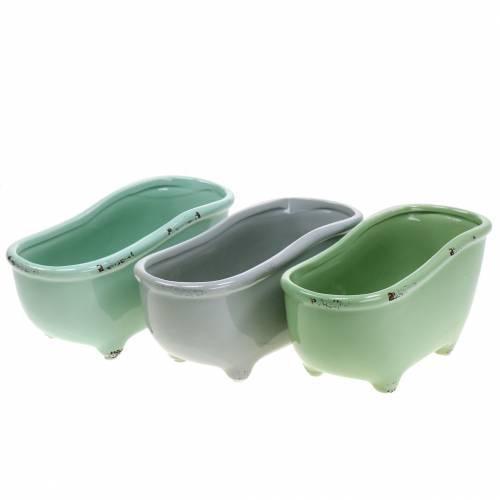 Dekorativt badkar keramiskt grått, grönt blandat 22cm x 10 cm H10cm set med 3