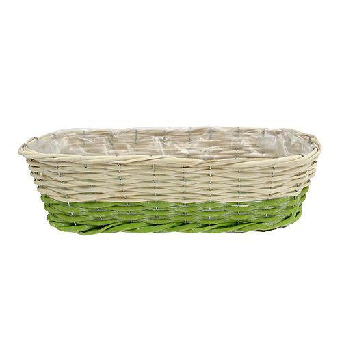 Balkonglåda oval 48x18cm H14cm grädde, grön