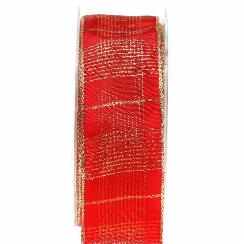 Kontrollera bandet med trådkanten röd, guld 40mm L20m