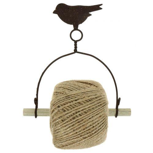 Bandhållare fågel för hängning med jute H19cm