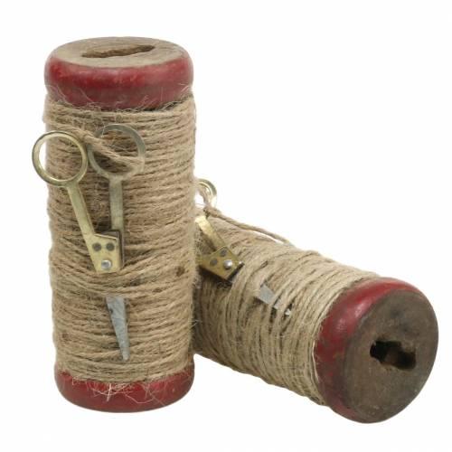 Trådrulle med dekorativ sax Ø6,5cm H15cm 2st vintage stil