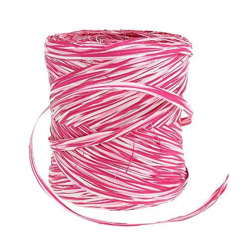 Bast som presentband rosa-vit 200m