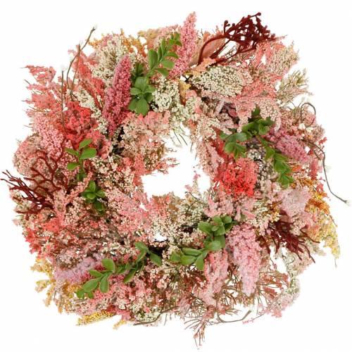 Ljungkrans konstgjord rosa Ø48cm