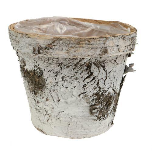 Björkgryta med fälgmedium Ø16cm H13cm vit