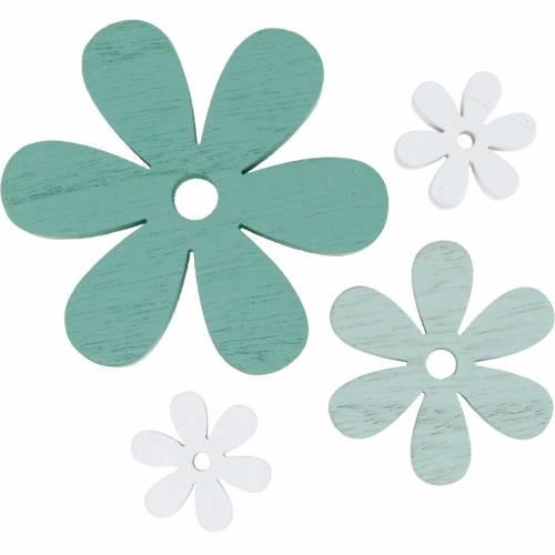 Scatter deco blommar grönt, mynta, vita träblommor för att sprida 29st