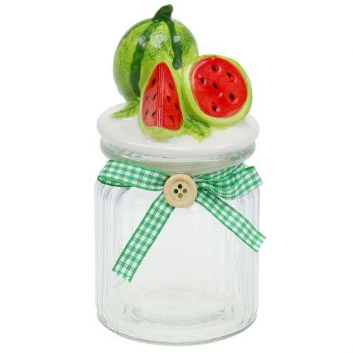 Bonbonniere tillverkad i glas med fruktlockmelon H15,5cm