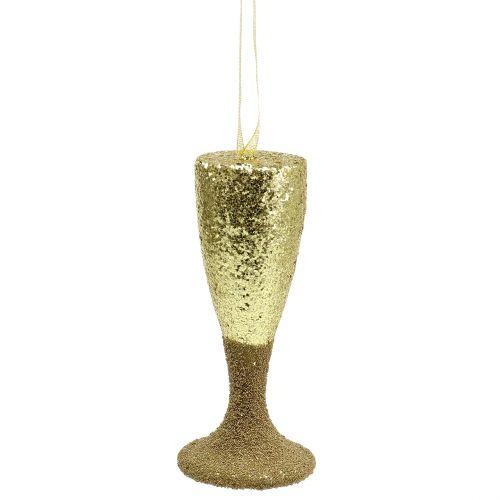 Hängare champagneglas ljusguld glitter 15 cm nyårsafton och jul