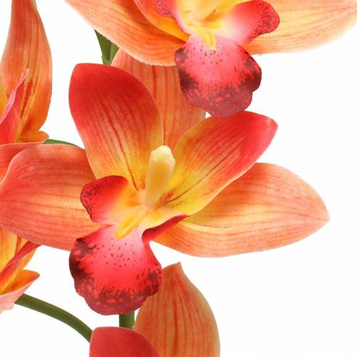 Orkidé konstgjord blomma Cymbidium Orange 74cm