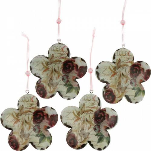 Dekorativ blomma för hängande pioner nostalgisk metallfjäderdekoration 4st