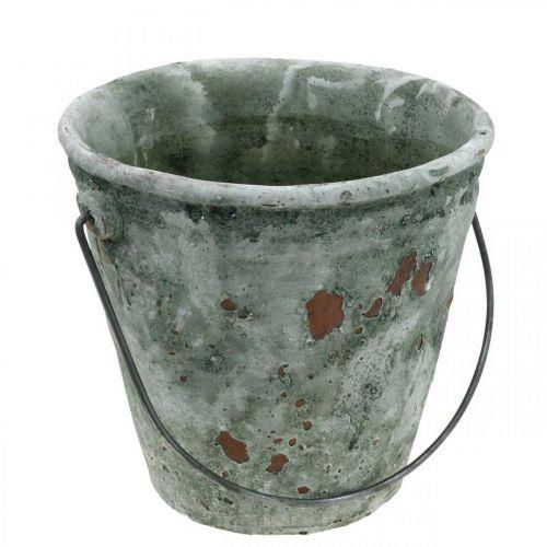 Växtskopa, trädgårdsdekoration, keramisk hink, antik optikplanter Ø16cm H13,5cm