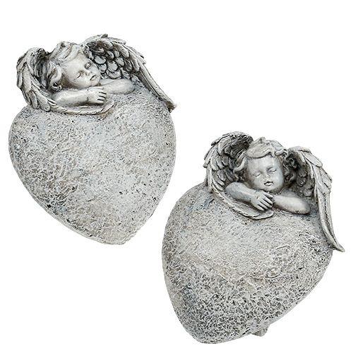 Dekorativt hjärta med ängelgrå 10,5 cm 2st