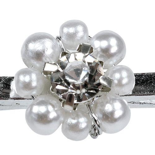 Dekorativ klämma med pärlblomma 2,5 cm 6st