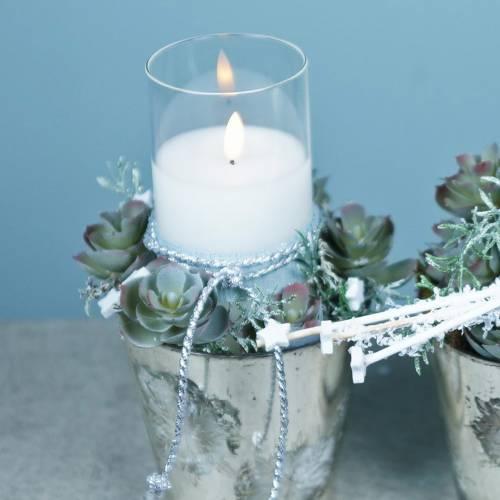 Dekorativt ljus med LED-ljus i ett glas av äkta vax Ø10cm H10cm