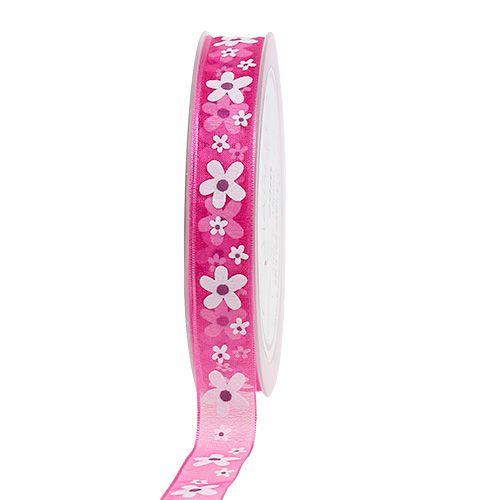 Dekorativt rosa band med blommotiv 15mm 20m
