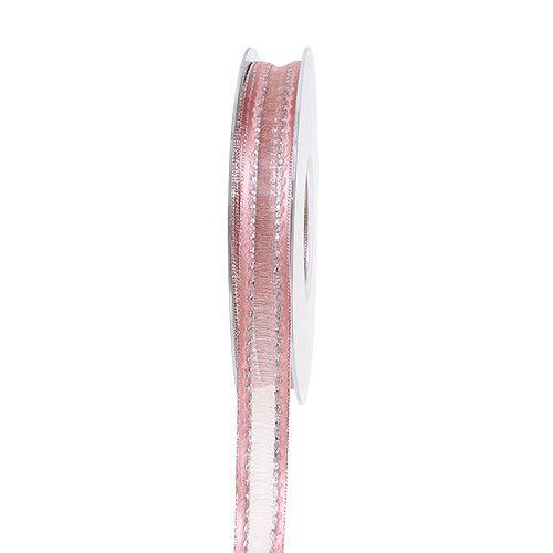 Dekorativt bandrosa med lurexränder i silver 15mm 20m