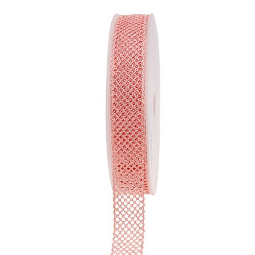 Dekorativt spetsband 21mm 20m rosa