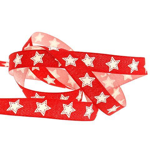 Dekorativt band med stjärnmönster röd 15mm 20m