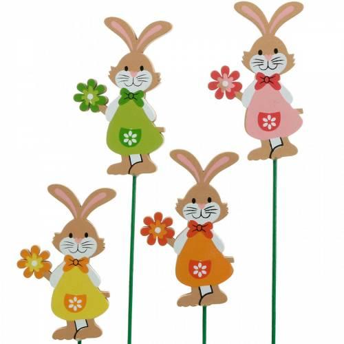 Dekorativ plugg Påskkanin med blomma påskdekoration träkaniner på en pinne 24st