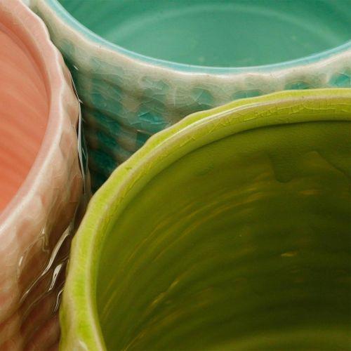 Keramisk växtkruka, mini växtkruka, keramisk dekoration, dekorativ kruka, korgmönster mynta / grön / rosa Ø7,5 cm 6st